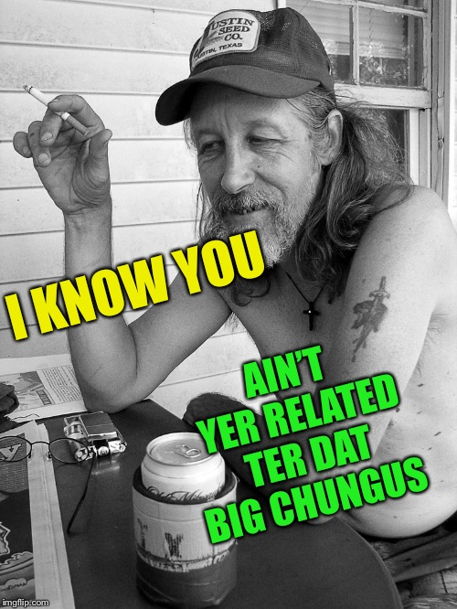 Red neck  | AIN'T YER RELATED TER DAT BIG CHUNGUS I KNOW YOU | image tagged in red neck | made w/ Imgflip meme maker