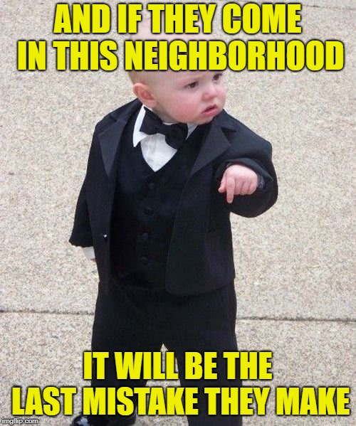 Baby Godfather Meme | AND IF THEY COME IN THIS NEIGHBORHOOD IT WILL BE THE LAST MISTAKE THEY MAKE | image tagged in memes,baby godfather | made w/ Imgflip meme maker