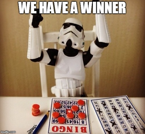 Bingo | WE HAVE A WINNER | image tagged in bingo | made w/ Imgflip meme maker