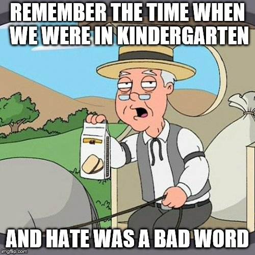 Pepperidge Farm Remembers Meme |  REMEMBER THE TIME WHEN WE WERE IN KINDERGARTEN; AND HATE WAS A BAD WORD | image tagged in memes,pepperidge farm remembers | made w/ Imgflip meme maker