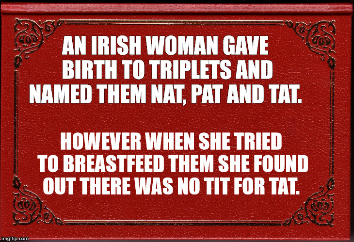 Irish Woman | AN IRISH WOMAN GAVE BIRTH TO TRIPLETS AND NAMED THEM NAT, PAT AND TAT. HOWEVER WHEN SHE TRIED TO BREASTFEED THEM SHE FOUND OUT THERE WAS NO  | image tagged in irish,birth,tit,corny,puns | made w/ Imgflip meme maker