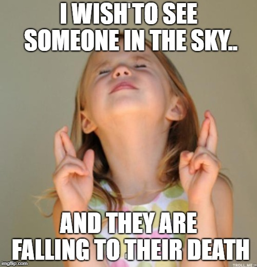 I wish | I WISH TO SEE SOMEONE IN THE SKY.. AND THEY ARE FALLING TO THEIR DEATH | image tagged in i wish | made w/ Imgflip meme maker
