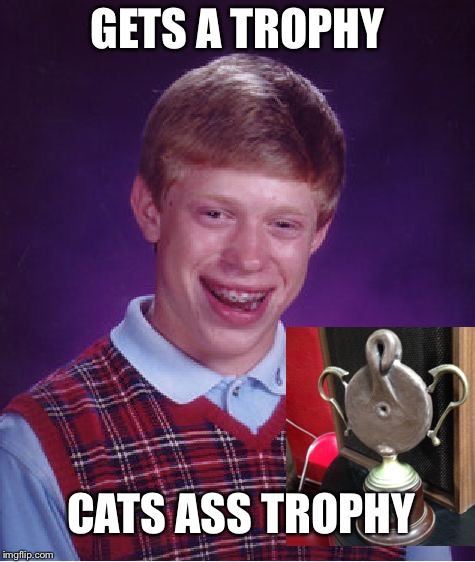 Bad Luck Brian Meme | GETS A TROPHY CATS ASS TROPHY | image tagged in memes,bad luck brian | made w/ Imgflip meme maker