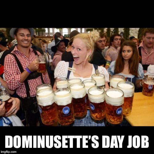 German memes for no reason | DOMINUSETTE'S DAY JOB | image tagged in german beer garden,memes | made w/ Imgflip meme maker