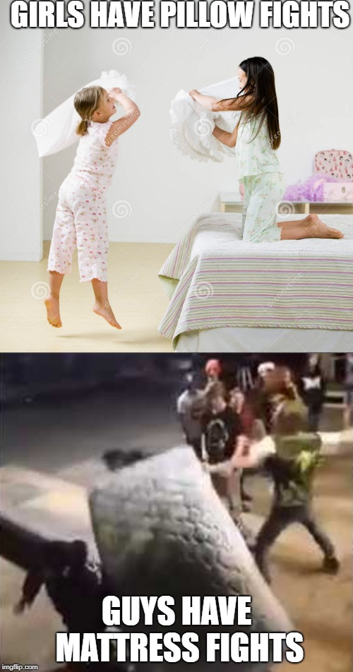 Pillow Fights  | GIRLS HAVE PILLOW FIGHTS GUYS HAVE MATTRESS FIGHTS | image tagged in pillow | made w/ Imgflip meme maker