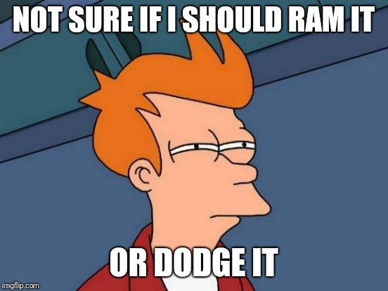 Futurama Fry Meme | NOT SURE IF I SHOULD RAM IT OR DODGE IT | image tagged in memes,futurama fry | made w/ Imgflip meme maker