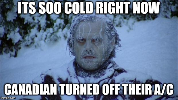 Cold | ITS SOO COLD RIGHT NOW CANADIAN TURNED OFF THEIR A/C | image tagged in cold | made w/ Imgflip meme maker