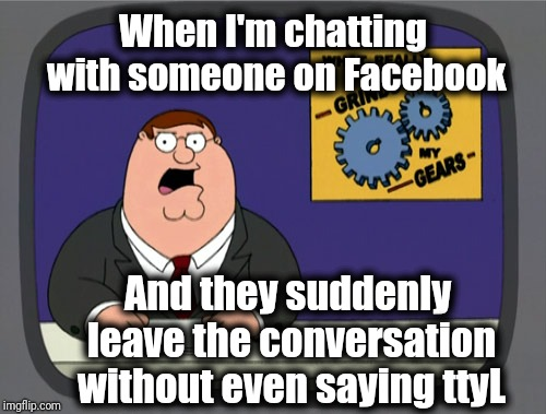 Peter Griffin News Meme | When I'm chatting with someone on Facebook And they suddenly leave the conversation without even saying ttyL | image tagged in memes,peter griffin news | made w/ Imgflip meme maker