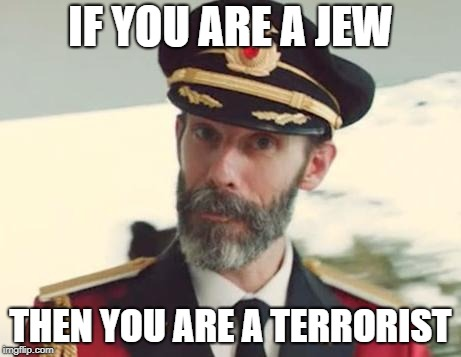 If You Are A Jew Then You Are A Terrorist | IF YOU ARE A JEW THEN YOU ARE A TERRORIST | image tagged in captain obvious,jew,jews | made w/ Imgflip meme maker