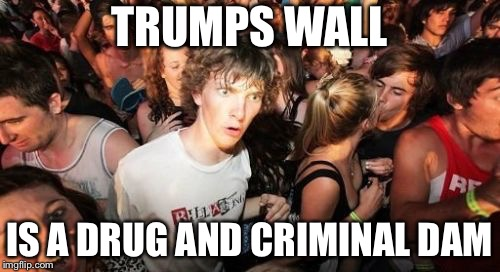Build the dam! | TRUMPS WALL IS A DRUG AND CRIMINAL DAM | image tagged in memes,sudden clarity clarence,donald trump,build a wall,political meme | made w/ Imgflip meme maker