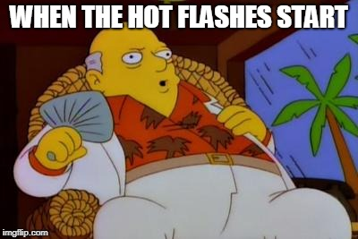 It's Too Hot Today Simpsons | WHEN THE HOT FLASHES START | image tagged in it's too hot today simpsons | made w/ Imgflip meme maker