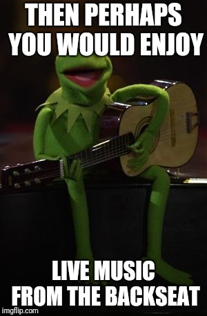 Kermit Guitar | THEN PERHAPS YOU WOULD ENJOY LIVE MUSIC FROM THE BACKSEAT | image tagged in kermit guitar | made w/ Imgflip meme maker