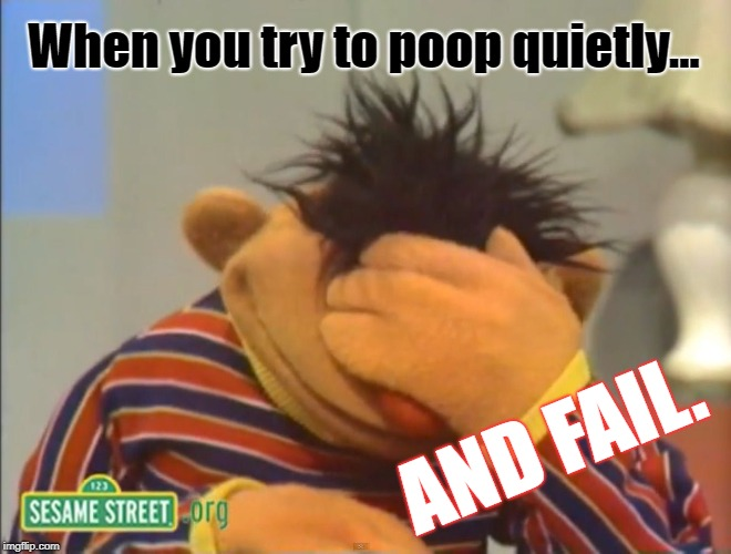 Quiet Poop | When you try to poop quietly... AND FAIL. | image tagged in face palm ernie,poop | made w/ Imgflip meme maker