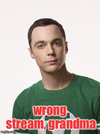 Sheldon Cooper | wrong stream, grandma | image tagged in sheldon cooper | made w/ Imgflip meme maker