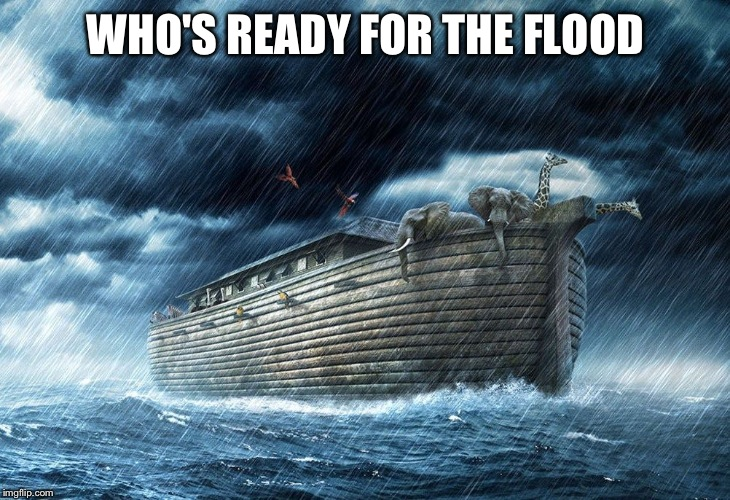 Noah's Ark | WHO'S READY FOR THE FLOOD | image tagged in noah's ark | made w/ Imgflip meme maker