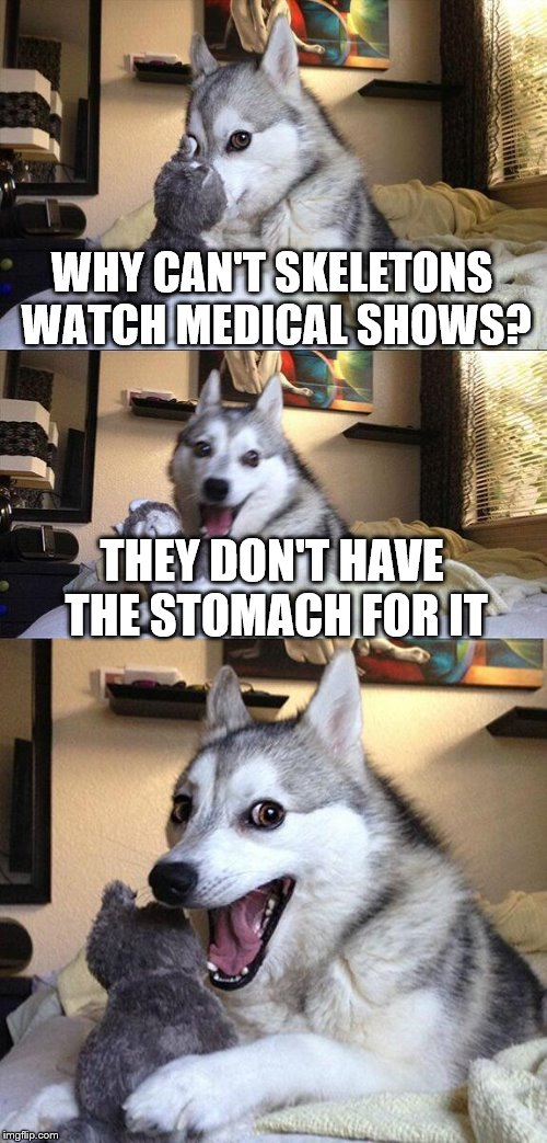 Bad Pun Dog | WHY CAN'T SKELETONS WATCH MEDICAL SHOWS? THEY DON'T HAVE THE STOMACH FOR IT | image tagged in memes,bad pun dog,surgery,hospital | made w/ Imgflip meme maker