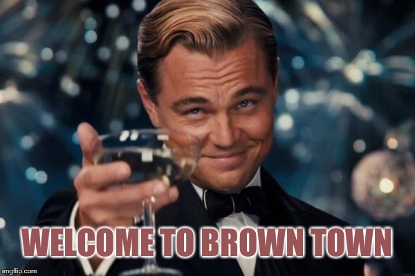 Leonardo Dicaprio Cheers Meme | WELCOME TO BROWN TOWN | image tagged in memes,leonardo dicaprio cheers | made w/ Imgflip meme maker