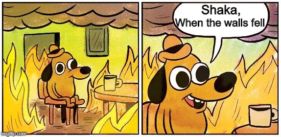 This is Fine (Blank) | Shaka, When the walls fell | image tagged in this is fine blank | made w/ Imgflip meme maker