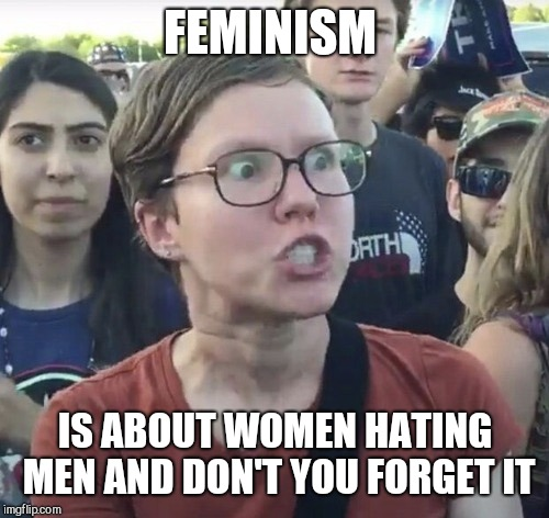 Triggered feminist | FEMINISM IS ABOUT WOMEN HATING MEN AND DON'T YOU FORGET IT | image tagged in triggered feminist | made w/ Imgflip meme maker