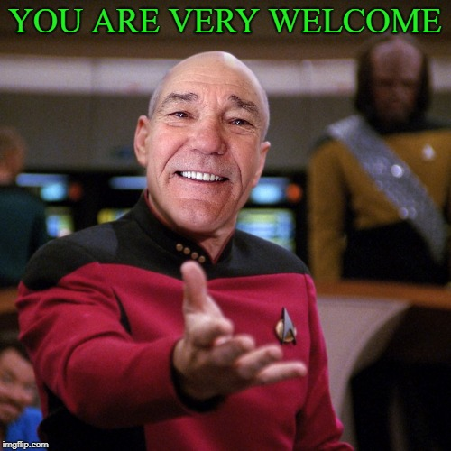 wtf picard kewlew | YOU ARE VERY WELCOME | image tagged in wtf picard kewlew | made w/ Imgflip meme maker