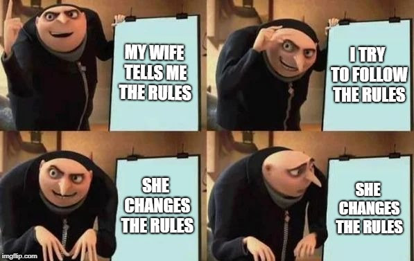 Good luck guys!!! | MY WIFE TELLS ME THE RULES I TRY TO FOLLOW THE RULES SHE CHANGES THE RULES SHE CHANGES THE RULES | image tagged in gru's plan,men vs women,men and women,difference between men and women,rules,wife | made w/ Imgflip meme maker