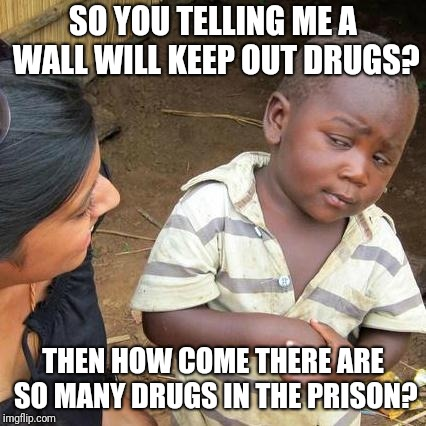 Third World Skeptical Kid Meme | SO YOU TELLING ME A WALL WILL KEEP OUT DRUGS? THEN HOW COME THERE ARE SO MANY DRUGS IN THE PRISON? | image tagged in memes,third world skeptical kid | made w/ Imgflip meme maker