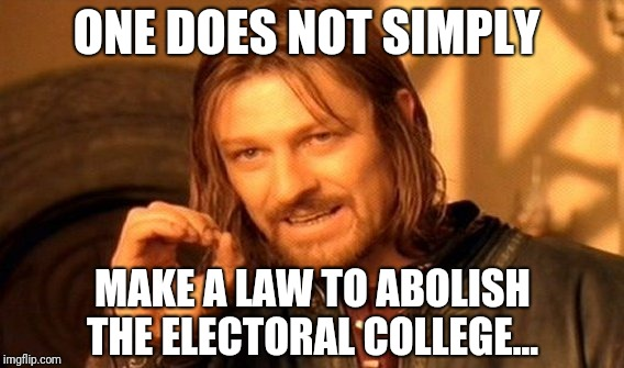 One Does Not Simply | ONE DOES NOT SIMPLY MAKE A LAW TO ABOLISH THE ELECTORAL COLLEGE... | image tagged in memes,one does not simply | made w/ Imgflip meme maker