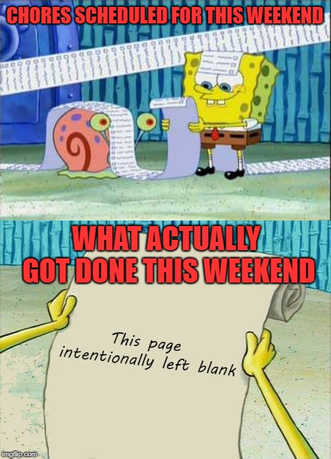 I did finish watching a Netflix series, so there's that | CHORES SCHEDULED FOR THIS WEEKEND This page intentionally left blank WHAT ACTUALLY GOT DONE THIS WEEKEND | image tagged in spongebob's list,memes,chores,this page intentionally left blank,funny | made w/ Imgflip meme maker