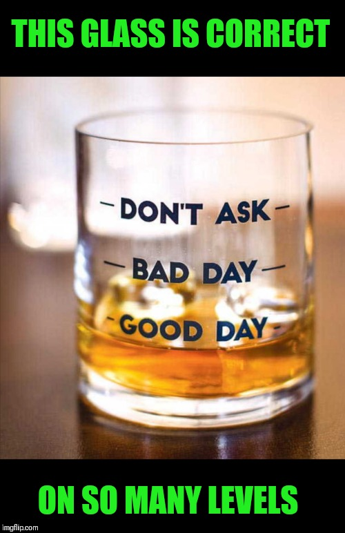 I bet that anyone that has this glass, wouldn't have very many good days...  | THIS GLASS IS CORRECT ON SO MANY LEVELS | image tagged in memes,funny,good day,bad day,whiskey,alcoholic | made w/ Imgflip meme maker