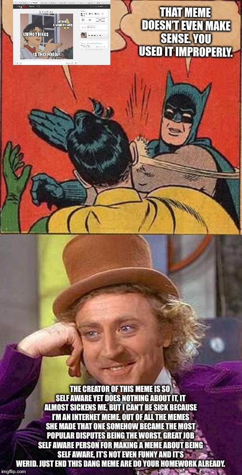 THAT MEME DOESN'T EVEN MAKE SENSE. YOU USED IT IMPROPERLY. THE CREATOR OF THIS MEME IS SO SELF AWARE YET DOES NOTHING ABOUT IT, IT ALMOST SI | image tagged in memes,creepy condescending wonka,batman slapping robin | made w/ Imgflip meme maker