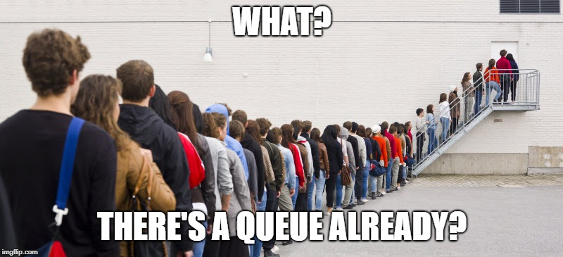 HG HYPE QUEUE | WHAT? THERE'S A QUEUE ALREADY? | image tagged in hg hype queue | made w/ Imgflip meme maker