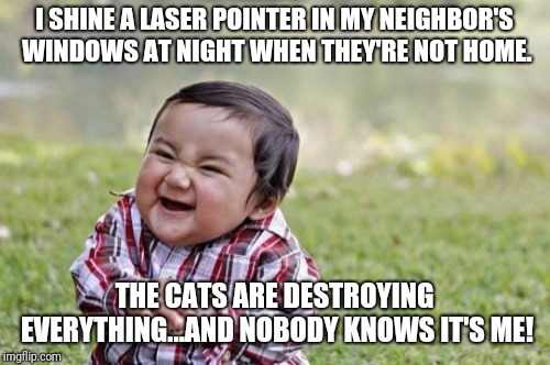 Evil Toddler | I SHINE A LASER POINTER IN MY NEIGHBOR'S WINDOWS AT NIGHT WHEN THEY'RE NOT HOME. THE CATS ARE DESTROYING EVERYTHING...AND NOBODY KNOWS IT'S  | image tagged in memes,evil toddler,funny,funny memes | made w/ Imgflip meme maker