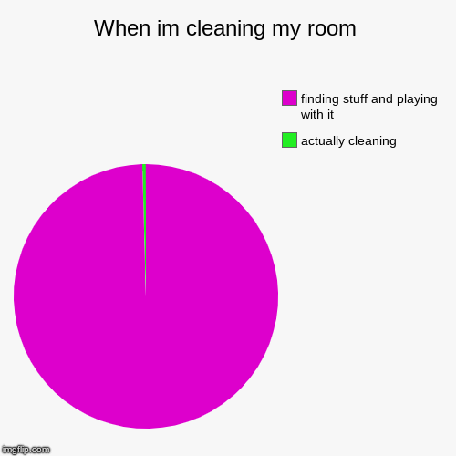 When im cleaning my room | actually cleaning, finding stuff and playing with it | image tagged in funny,pie charts | made w/ Imgflip pie chart maker