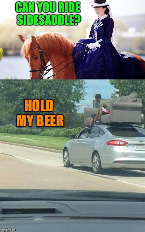 Show off! | CAN YOU RIDE SIDESADDLE? HOLD MY BEER | image tagged in horse,riding,couch,memes,funny | made w/ Imgflip meme maker