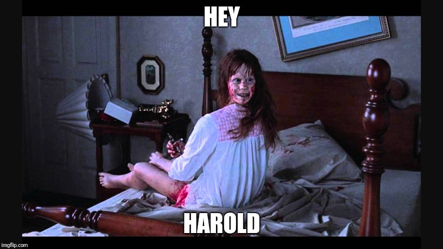 the excorcist | HEY HAROLD | image tagged in the excorcist | made w/ Imgflip meme maker