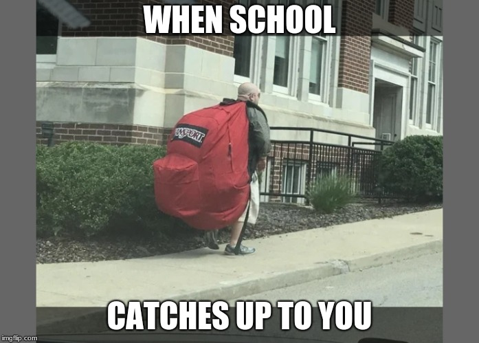 WHEN SCHOOL CATCHES UP TO YOU | image tagged in school | made w/ Imgflip meme maker
