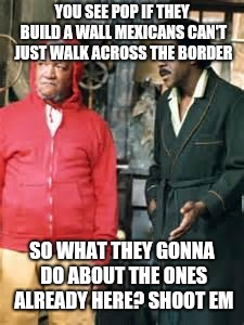 sanford and son |  YOU SEE POP IF THEY BUILD A WALL MEXICANS CAN'T JUST WALK ACROSS THE BORDER; SO WHAT THEY GONNA DO ABOUT THE ONES ALREADY HERE? SHOOT EM | image tagged in sanford and son | made w/ Imgflip meme maker