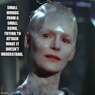 SMALL WORDS FROM A SMALL BEING, TRYING TO ATTACK WHAT IT DOESN'T UNDERSTAND. | image tagged in the borg | made w/ Imgflip meme maker