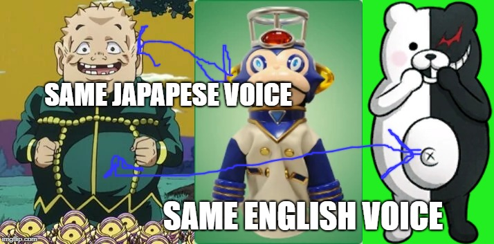 Another voice actor joke | SAME JAPAPESE VOICE SAME ENGLISH VOICE | image tagged in jojo's bizarre adventure,super sentai,danganronpa,ressha sentai toqger,voice actor | made w/ Imgflip meme maker