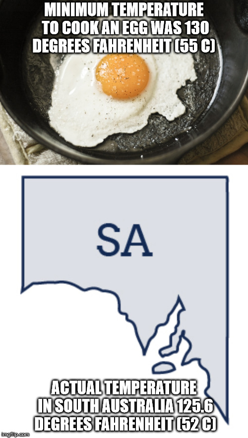 Current Temp | MINIMUM TEMPERATURE TO COOK AN EGG WAS 130 DEGREES FAHRENHEIT (55 C) ACTUAL TEMPERATURE IN SOUTH AUSTRALIA 125.6 DEGREES FAHRENHEIT (52 C) | image tagged in hot,temperature,egg | made w/ Imgflip meme maker