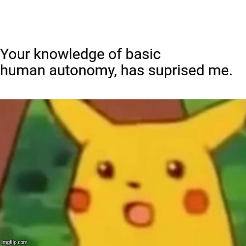 Surprised Pikachu Meme | Your knowledge of basic human autonomy, has suprised me. | image tagged in memes,surprised pikachu | made w/ Imgflip meme maker