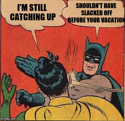 Batman Slapping Robin Meme | I'M STILL CATCHING UP SHOULDN'T HAVE SLACKED OFF BEFORE YOUR VACATION | image tagged in memes,batman slapping robin | made w/ Imgflip meme maker