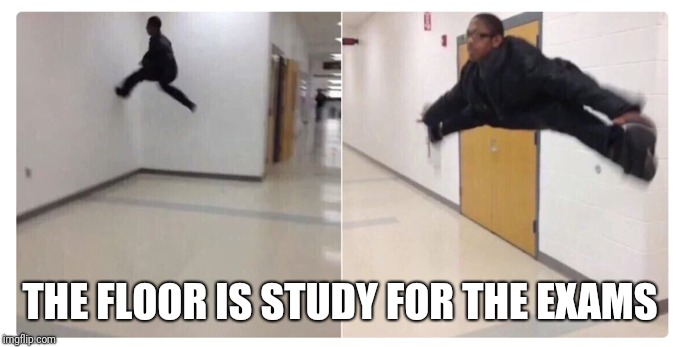 THE FLOOR IS STUDY FOR THE EXAMS | image tagged in the floor is,exams | made w/ Imgflip meme maker