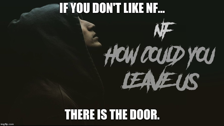 NF- How Could You Leave Us | IF YOU DON'T LIKE NF... THERE IS THE DOOR. | image tagged in leave | made w/ Imgflip meme maker