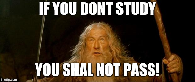 gandalf you shall not pass | IF YOU DONT STUDY YOU SHAL NOT PASS! | image tagged in gandalf you shall not pass | made w/ Imgflip meme maker