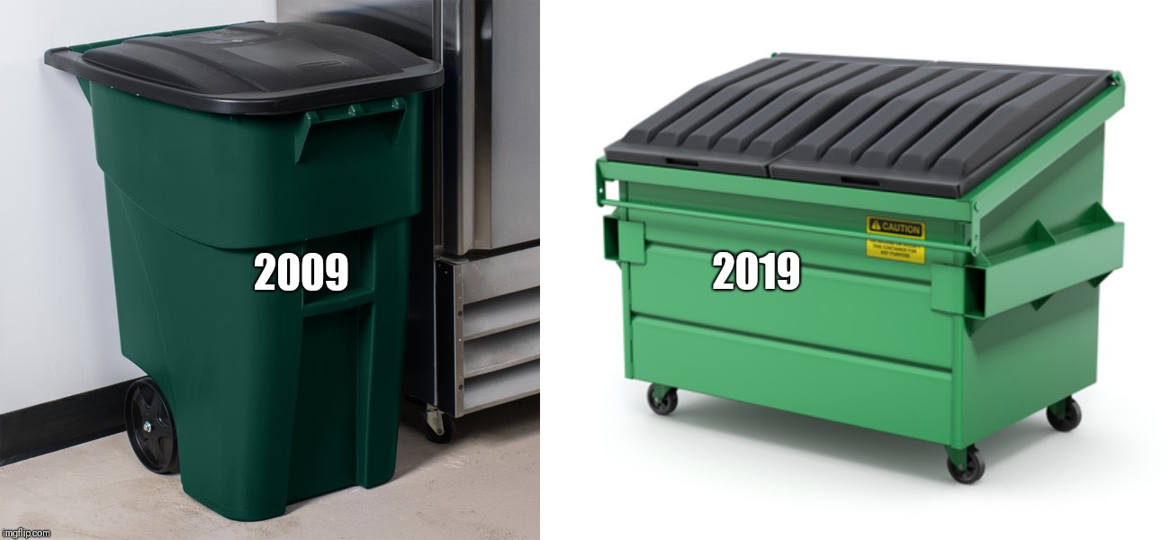 10 year challenge  | 2009 2019 | image tagged in 10yearchallenge,10year,decade,garbage,trash,trashpanda | made w/ Imgflip meme maker
