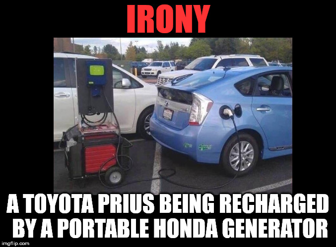 Yeah, that cuts down on emissions. | IRONY A TOYOTA PRIUS BEING RECHARGED BY A PORTABLE HONDA GENERATOR | image tagged in genorator,prius | made w/ Imgflip meme maker