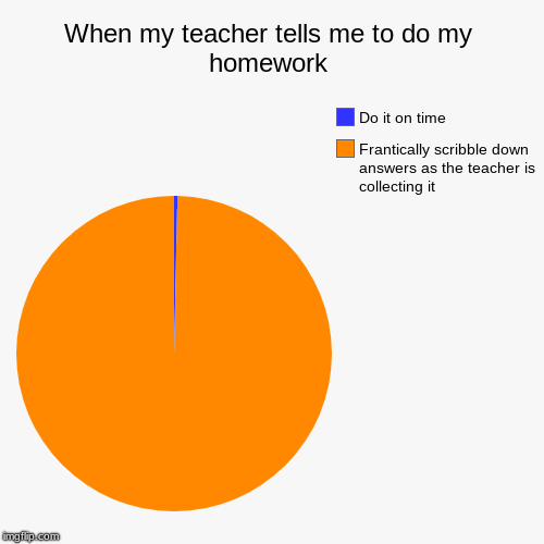 When my teacher tells me to do my homework | Frantically scribble down answers as the teacher is collecting it, Do it on time | image tagged in funny,pie charts | made w/ Imgflip pie chart maker