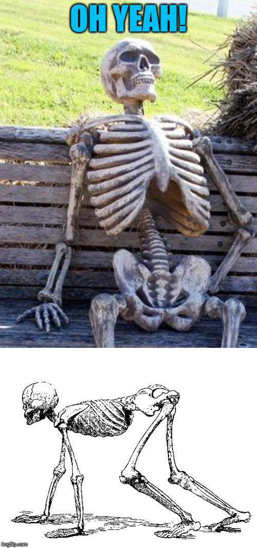 OH YEAH! | image tagged in memes,waiting skeleton | made w/ Imgflip meme maker