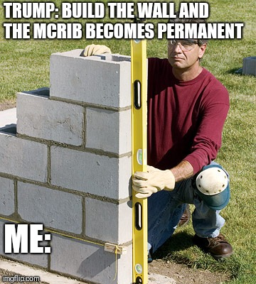 Trump Wall | TRUMP: BUILD THE WALL AND THE MCRIB BECOMES PERMANENT ME: | image tagged in trump wall | made w/ Imgflip meme maker